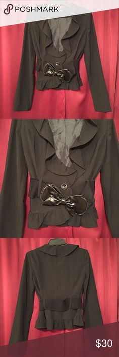 Cute Ruffled Blazer Cute black fitted Blazer with ruffles and a detachable belt. Gently used! A. Byer Jackets & Coats Blazers