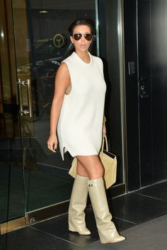 @roressclothes clothing ideas #women fashion Kim Kardashian: White Sweater Dress with Knee-high Boots