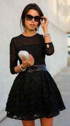 Long Sleeve Lace A-line Mini Cocktail Dress