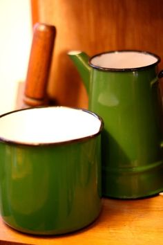gorgeous green enamelware from L 'Indiscret Brocante & Tea Salon