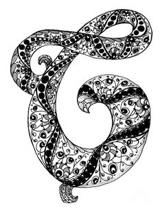 Zentangle Letter C Monogram In Black And White Drawing