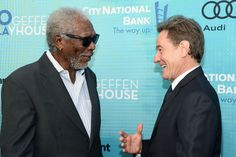 Actors Morgan Freeman (L) and Bryan Cranston attend Backstage at the Geffen at Geffen Playhouse on May 22, 2016 in Los Angeles, California.