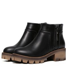 Black Side Zipper Thick-soled Ankle Boots ($33) ❤ liked on Polyvore featuring shoes, boots, ankle booties, black, black booties, black bootie, chunky ankle boots, platform boots and ankle boots