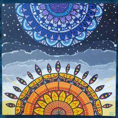 Galaxy art, mandala art, mandala painting, sun and moon art, bohemian painting, boho home decor, psychedelic wall art, psychedelic painting