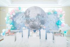 Moon-inspired Dessert Spread from a Pastel Moon & Stars Birthday Party on Kara's Party Ideas | KarasPartyIdeas.com (6)