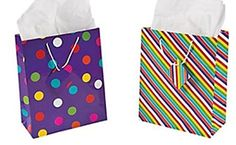 12 Medium Gift Bags - Assorted (Choose Your Style) (12 pc bright stripes and dots) >>> You can get additional details at the image link.