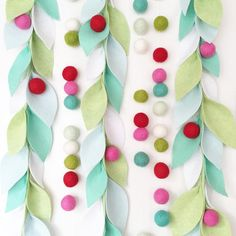 Leafy garlands will be in stock and ready to ship in time for Christmas- TOMORROW! 7 pm EST // also some new colors and woolie ball wreaths!