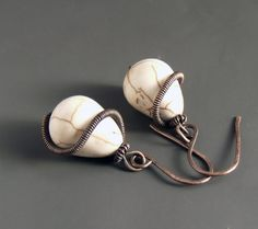 Ivory white earrings copper earrings howlite by VeraNasfaJewelry White Earrings, Copper Earrings, Dangle Earrings, Stone Beads, Stone Jewelry, Equestrian Jewelry, Horseshoe Necklace, Gifts For Horse Lovers, Handmade Copper