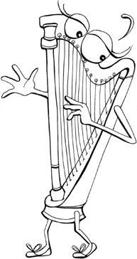 kleurplaat harp