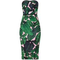Pink Tropical Print Midi Dress