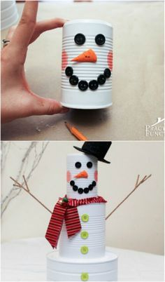 50 Jaw-Dropping Ideas for Upcycling Tin Cans Into Beautiful Household Items! 50 Jaw-Dropping Ideas for Upcycling Tin Cans Into Beautiful Household Items! Tin Can Snowman for the Holidays Aluminum Can Crafts, Tin Can Crafts, Fun Crafts To Do, Upcycled Crafts, Diy Projects Using Tin Cans, Recycling Projects, Kids Crafts, Holiday Crafts, Christmas Crafts