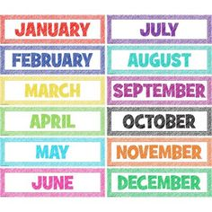 Scribble Monthly Headliners - Headliners add instant appeal to any classroom! Use them as titles for bulletin board displays. Line them up along a wall or above a chalkboard. 12 headliners per pack. Each headliner measures x Kindergarten Calendar, Preschool Calendar, Classroom Calendar, Homeschool Kindergarten, Homeschooling, Kindergarten Posters, Kindergarten Lessons, Preschool Weather, Free Preschool