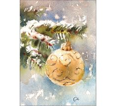 Happy Holidays!    Original unframed watercolor painting on a high quality 300 g/m - 140lb Acid Free Arches watercolor paper. Hand painted and