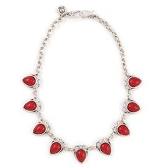 $34.30 AMOUR CRIMSON NECKLACE Featuring delicate drops of crimson-colored teardrops, this antique silver statement piece looks great dressed up or dressed down. Measures 21.5 inches.