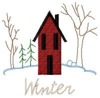 Four Seasons of Saltbox Set - 4x4 | Winter | Machine Embroidery Designs | SWAKembroidery.com HeartStrings Embroidery