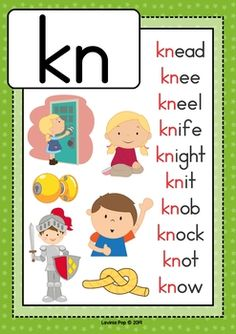 Digraph KN: Phonics Word Work {Multiple Phonograms}. Anchor chart / poster, Phonics Reading, Teaching Phonics, Preschool Learning Activities, Kindergarten Reading, Kids Learning, Pronoun Activities, Preschool Phonics, Work Activities, Learning Spanish