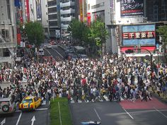 Crosswalk to Shinjuku Station--the busiest train station in the world!