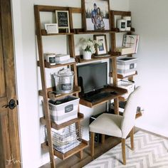 Small space big desk!  All 1x boards too!  Check out brand new plans today ANA-WHITE.com #desk #office #woodworking #build #plans #design #homeoffice #getbuilding2015