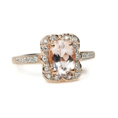 14k Rose Gold Genuine Morganite, Diamond and Pink Sapphire Ring – Sparkle & Jade