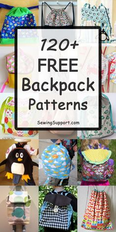 Over 120 Free Backpack patterns, tutorials, and diy sewing projects, including drawstring styles, back to school backpacks for kids and toddlers, and large and small designs. #backpack #backpackpatterns #sewingpatterns #sewingprojects