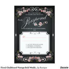 Floral Chalkboard Vintage Bold Wedding RSVP Invitation