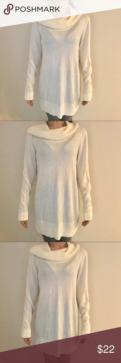 LOFT cowl neck sweater Loft cowl/turtle neck cream sweater big on me will fit you better has minor wear is more of a true cream color that white LOFT Sweaters Cowl & Turtlenecks