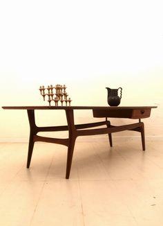 Louis Teeffelen; Teak Coffee Table for Webe, 1950s.