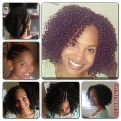 Denise is highly active and into fitness and was wanting to put away her natural hair and protect for a month or so with minimal upkeep. We decided on Crochet Braids -using  Freetress Waterwave  - Denise ROCKING it! Hair resembles natural hair texture of braid out, Bantuknot out, flat twists. Love it!