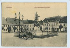 Naugard Markt mit Bismarck-Denkmal