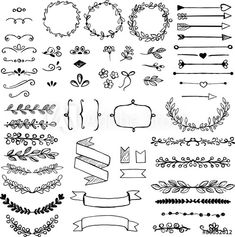 Find Set Doodle Design Elements Arrows Wreath stock images in HD and millions of other royalty-free stock photos, illustrations and vectors in the Shutterstock collection. Organization Bullet Journal, Bullet Journal Inspo, Bullet Journal Doodles Ideas, Page Boarders, Planner Doodles, Art Impressions Stamps, Sketch Notes, Doodle Designs, Journal Notebook