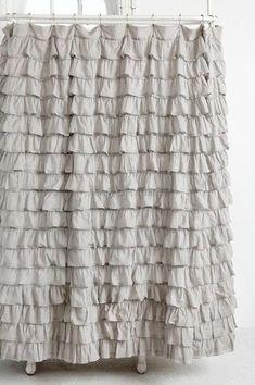 Shabby Chic Shower Curtains | ... Chic Dreamy French Ruffled Lilac Grey Ruffles Bath Shower Curtain