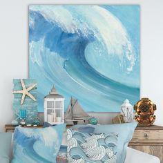Designart 'Ocean Wave Handpainted with White Foam' Nautical & Coastal Canvas Art - Blue in. wide x 46 in. Framed Canvas Prints, Canvas Artwork, Canvas Frame, Seascape Art, Thing 1, Beautiful Ocean, Ocean Waves, Online Art Gallery, Design Art