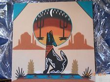"Navajo ""Howling Coyote"" Sand Painting by Watchman of New Mexico"