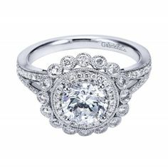Extravagant Vintage Inspired Double Halo Engagement Ring Wedding Day Diamonds Double Halo Engagement Ring