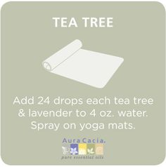 Clean your yoga mat (I would also add something to disperse the oils evenly. Like alcohol, witch hazel, vinegar etc). Zen Meditation, Tea Tree Essential Oil, Essential Oils, Mat Yoga, Chakra, Yoga Accessories, Yoga Teacher, Yoga Inspiration, Yoga Fitness