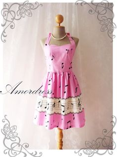 Music Lover  Pink Dress Music Note Summer Retro Party by Amordress, $46.50