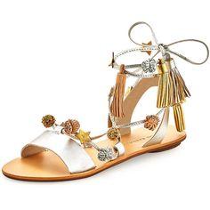 Loeffler Randall Suze Tassel Pompom Flat Sandal ($148) ❤ liked on Polyvore featuring shoes, sandals, silver, ankle strap flat sandals, open toe sandals, metallic flat sandals, ankle wrap flat sandals and pom pom sandals