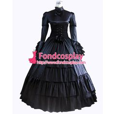 Free Shipping Gothic Lolita Punk Medieval Gown Black Ball Long Evening Dress…