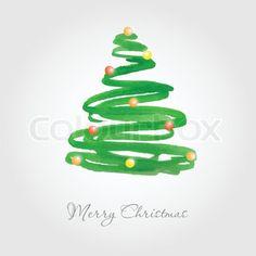 Weihnachtskarte mit Aquarell gemalt Tannenbaum mit bunten Kugeln | Stock-Vektor | Colourbox on Colourbox