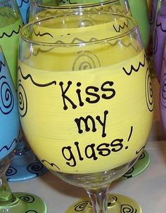 Kiss my glass Hilarious Funny Wine Glass Gift by FunnyWineGlasses, $9.99