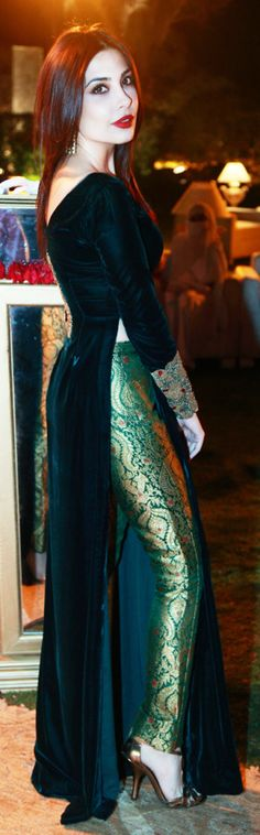 Pakistani high fashion. Designer Maheen Ghani Taseer in her own design.