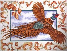 LeClair Autumn Pheasant Cross Stitch Kit Field Bird in Flight Vintage Rare Needlework Kits - Contemporary Stitchery Crafts