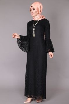 BRB4201 Siyah Volan Kol Dantel Elbise BRB4201 Ekru Abaya Fashion, Modest Fashion, Fashion Dresses, Muslim Women Fashion, Islamic Fashion, Hijab Style Dress, Mode Abaya, Hijab Fashionista, Muslim Dress