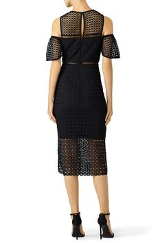 Geometric Lace Cold Shoulder Sheath by Cynthia Rowley for $65 - $80 | Rent the Runway