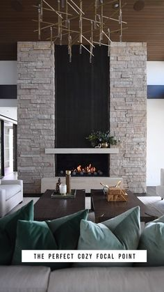 Alder & Tweed Design Co. showcases some of its interior design works with video tours. Living Room Decor Fireplace, Home Fireplace, Fireplace Remodel, Fireplace Surrounds, Home Living Room, Stone Wall Living Room, Granite Fireplace, Feature Wall Living Room, Metal Fireplace