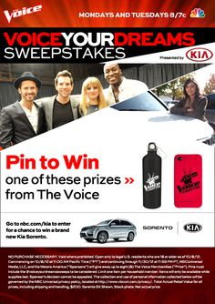 This sweepstakes has now ended. // Click this pin to find out how to win a Kia Sorento and weekly prizes from Kia Motors and The Voice. Be sure to check back each week for additional chances to pin and win! #VoiceYourDreamsSweeps