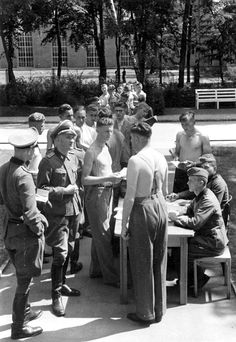 Norwegian volunteers are given a medical examination by Waffen SS doctors. The volunteers eventually formed the Waffen SS Division Nordland, also known as the Norwegian Legion