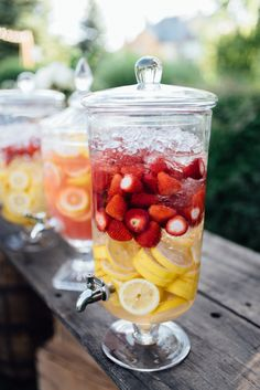 i have one and amy has one. we can put water in one with lemons and another one with pink lemonade and strawberries?