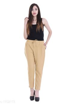 Checkout this latest Trousers & Pants Product Name: *Trendy Solid Cotton Flex Pant* Fabric: Cotton Flex Size: S- Up To 22 in to 26 in M - Up To 26 in to 30 in L- Up To 30 in to 34 in  XL - Up To 34 in to 38 in  XXL- Up To 38 to 42 in  3XL- Up To 42 in to 46 in Length: Up To 40 in Type: Stitched Description: It Has 1 Piece Of Women's Pant Pattern: Solid Country of Origin: India Easy Returns Available In Case Of Any Issue   Catalog Rating: ★3.9 (733)  Catalog Name: Stylish Solid Cotton Flex Pants Vol 3 CatalogID_135526 C79-SC1034 Code: 813-1102113-957