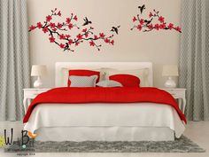 Cherry Blossom branch wall decal birds wall sticker nursery childrens decal vinyl wall decal